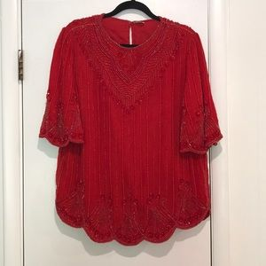 Vintage red beaded sequin top blouse size medium